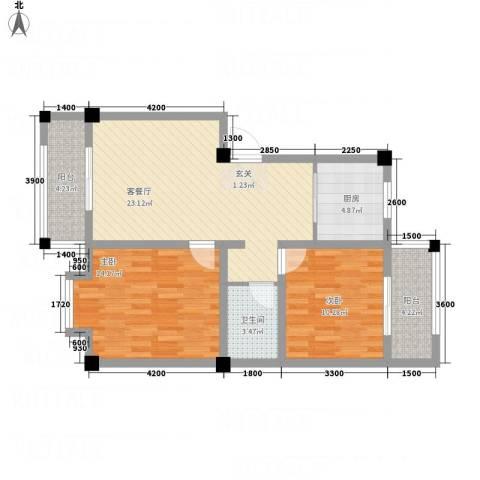 恒星商苑2室1厅1卫1厨64.37㎡户型图