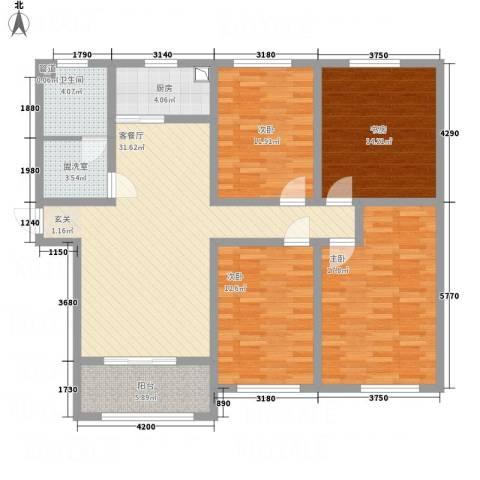 文鑫花园4室2厅1卫1厨122.00㎡户型图