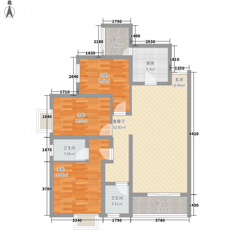 天然居121.70㎡B户型3室2厅2卫1厨