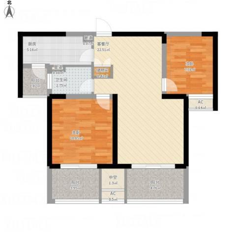 经纬城市绿洲四期泓汇地标2室1厅1卫1厨92.00㎡户型图