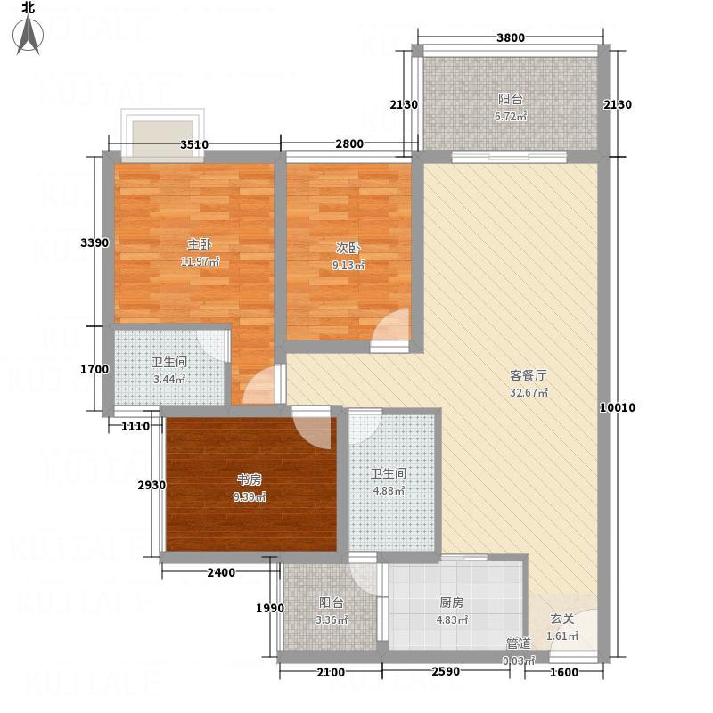 滨河壹号88.78㎡A1户型3室2厅2卫1厨