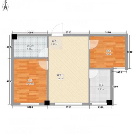 鑫城蓝湾2室1厅1卫1厨73.00㎡户型图