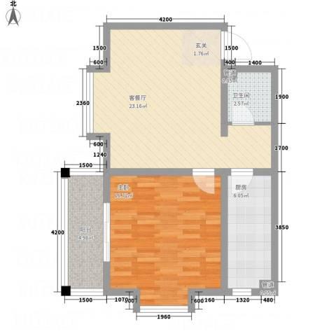 恒星商苑1室1厅1卫1厨65.00㎡户型图