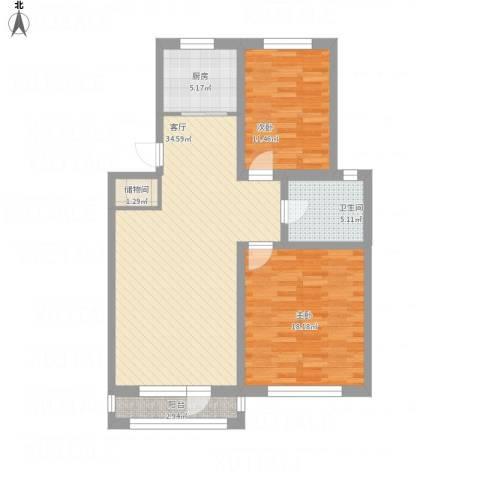 襄平蓝庭107.03-107.142室1厅1卫1厨114.00㎡户型图