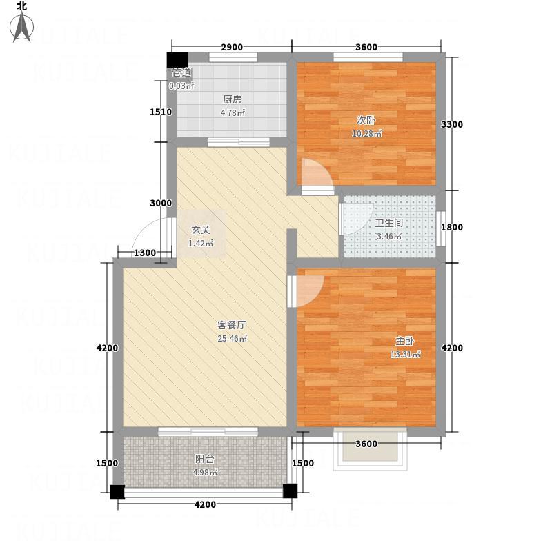 恒星商苑7.85㎡M户型2室2厅1卫1厨