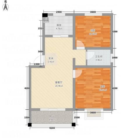 恒星商苑2室1厅1卫1厨62.29㎡户型图