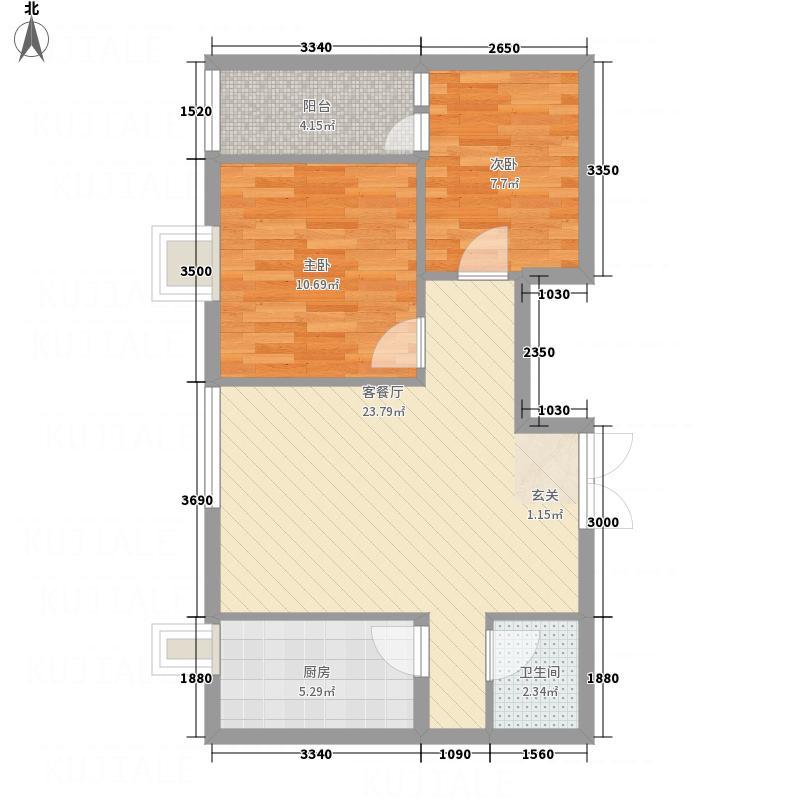 天然居76.16㎡E户型2室2厅1卫1厨