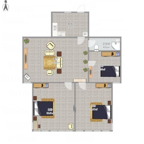 中大凤栖花园3室1厅1卫1厨133.00㎡户型图
