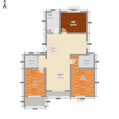水岸人家3室1厅2卫1厨118.40㎡户型图