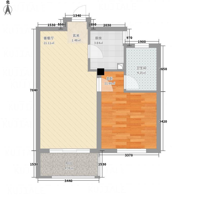 保利西塘越65.00㎡非标准层2-7FB2户型1室2厅1卫1厨