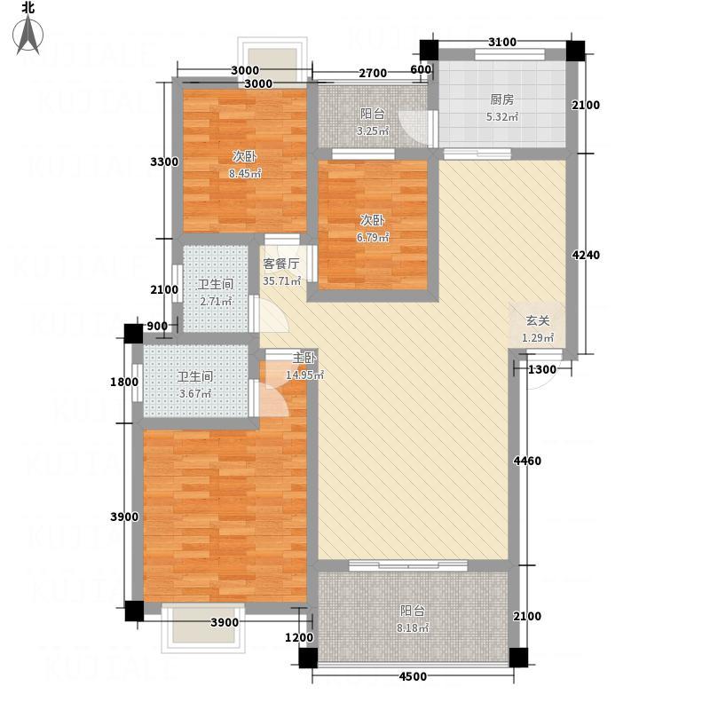 麓湖国际1.22㎡9户型3室2厅2卫1厨