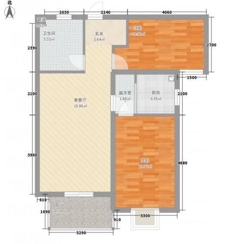 广福花园2室2厅1卫1厨94.00㎡户型图