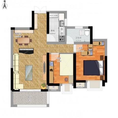 南昌华南城2室1厅1卫1厨86.00㎡户型图