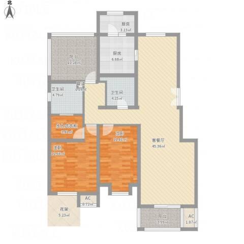 天房天和园2室1厅2卫2厨157.00㎡户型图