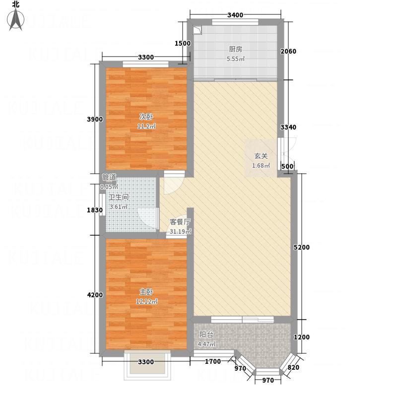 宇泰珑湾1.65㎡C1户型2室2厅1卫