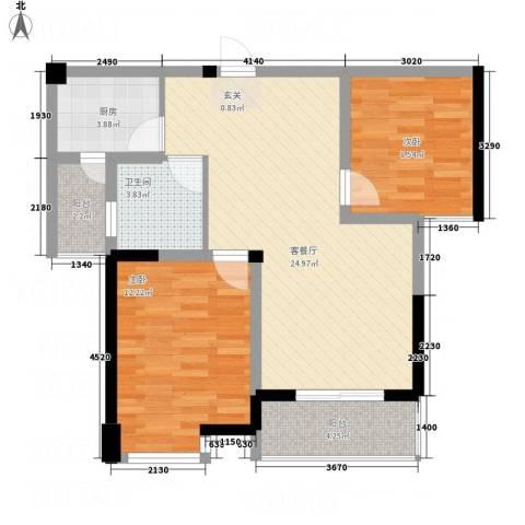 名仕佳园2室1厅1卫1厨86.00㎡户型图