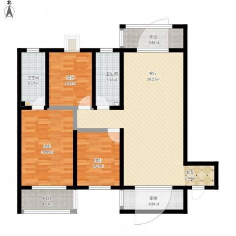 旭景崇盛园3室1厅2卫1厨141.00㎡户型图