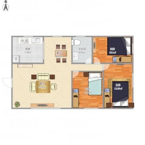 康乐大厦3室1厅1卫1厨109.00㎡户型图