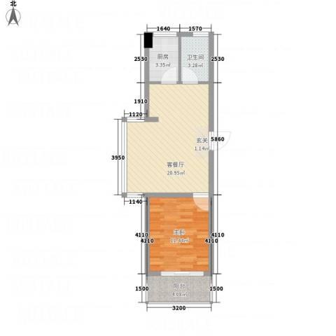 名仕佳园1室1厅1卫1厨62.00㎡户型图