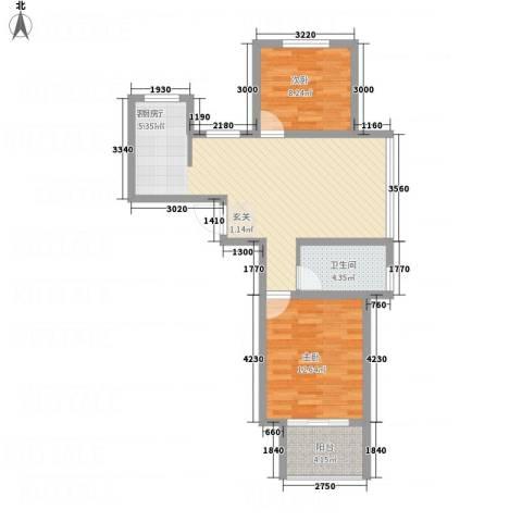 名仕佳园2室1厅1卫0厨81.00㎡户型图