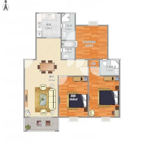 连云港幸福城2室1厅3卫1厨130.00㎡户型图
