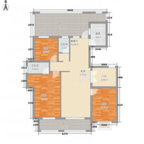 星凯国际广场3室1厅2卫1厨112.32㎡户型图