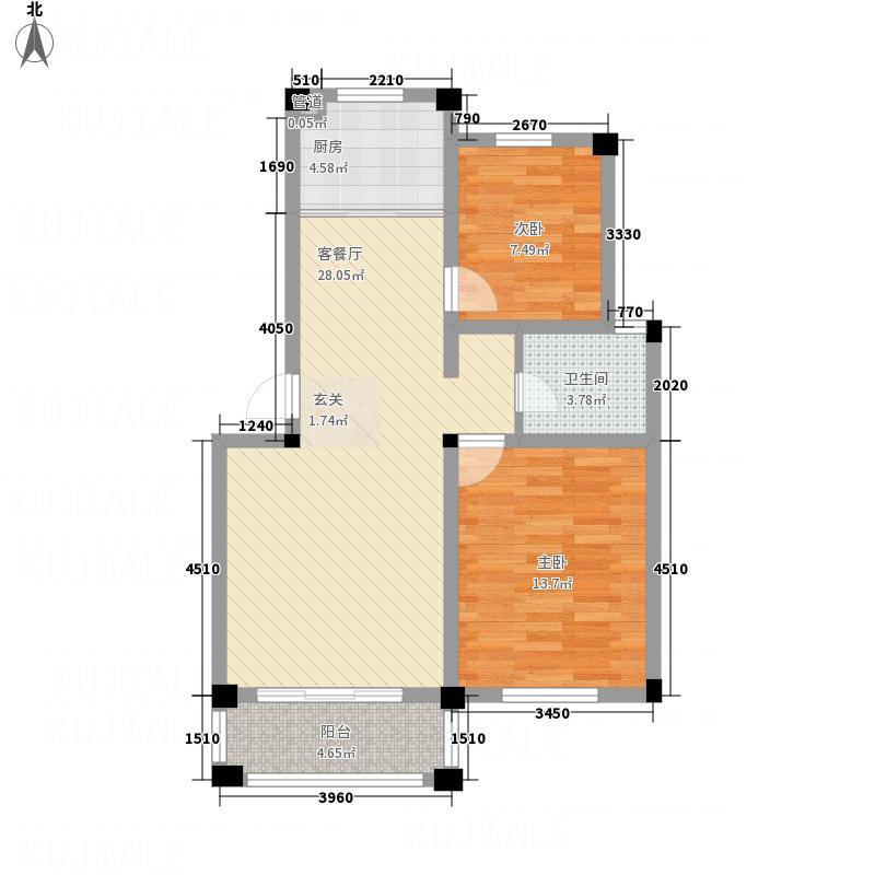 凤凰湖B2户型2室2厅1卫1厨