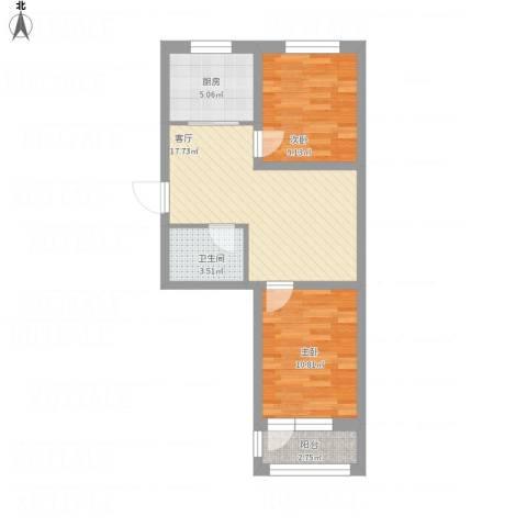 襄平蓝庭75.74-76.042室1厅1卫1厨72.00㎡户型图