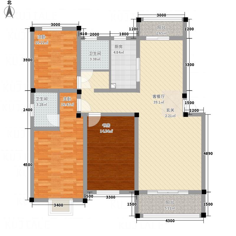 信华城市花园12.80㎡C9户型3室2厅2卫1厨