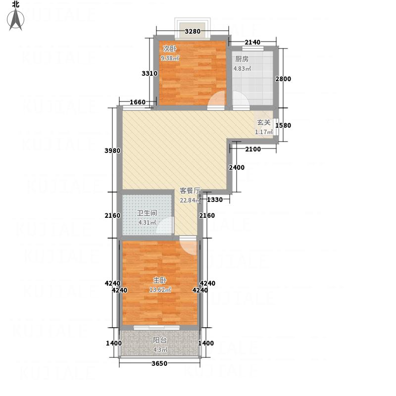 园城汇龙湾85.60㎡二期C1户型2室2厅1卫1厨
