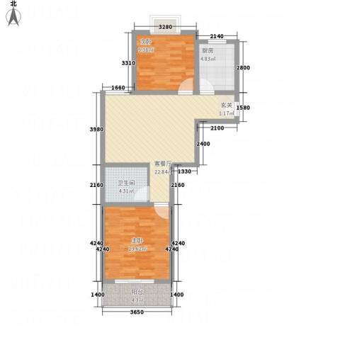 园城汇龙湾2室1厅1卫1厨86.00㎡户型图