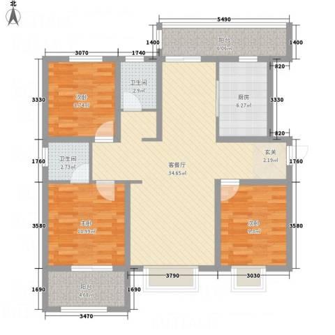 星凯国际广场3室1厅2卫1厨125.00㎡户型图
