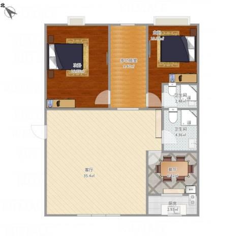 汾河外滩2室2厅2卫1厨117.00㎡户型图