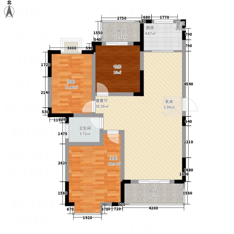 新城文昌花园11.31㎡A3户型3室2厅1卫