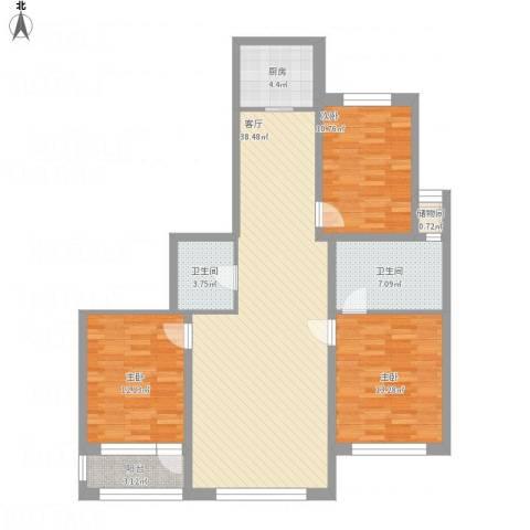 襄平蓝庭130.913室1厅2卫1厨135.00㎡户型图