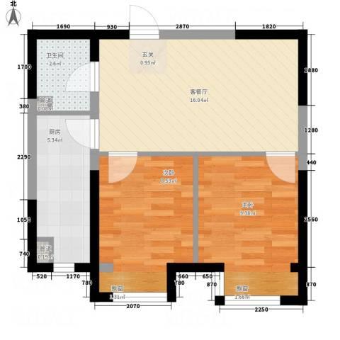 V街区2室1厅1卫1厨61.00㎡户型图