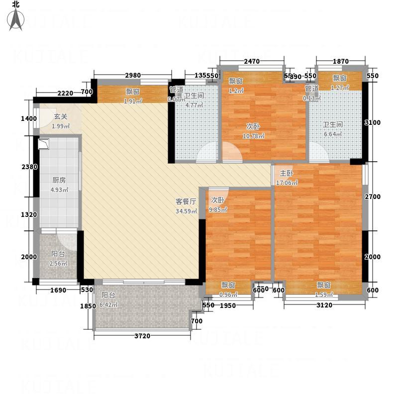 清华园11.00㎡户型3室
