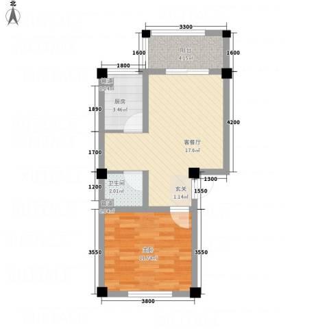恒星商苑1室1厅1卫1厨51.00㎡户型图
