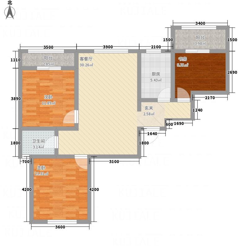 九栋洋楼3期114.34㎡E6C1户型3室2厅1卫1厨
