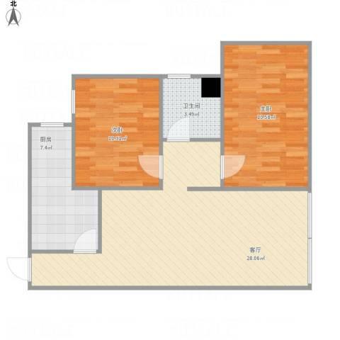 龙井佳苑2室1厅1卫1厨85.00㎡户型图