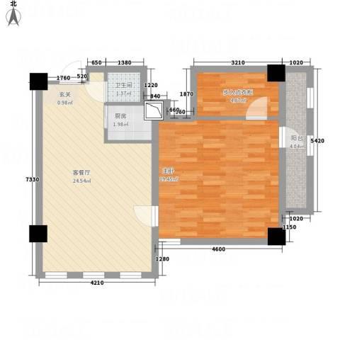 文鑫花园1室1厅1卫1厨65.00㎡户型图