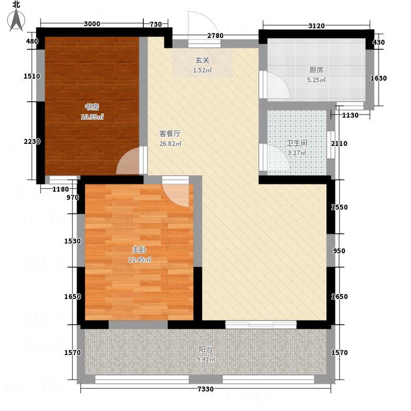 中奥万融公馆5.17㎡B1户型2室2厅1卫
