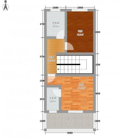 假日江南雅筑2室0厅2卫0厨73.00㎡户型图