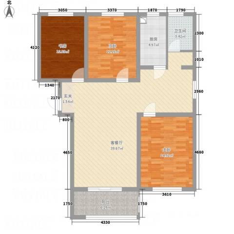 文鑫花园3室1厅1卫1厨105.00㎡户型图