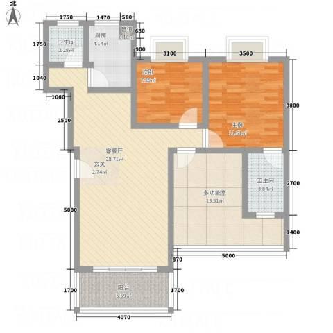 假日江南雅筑2室1厅2卫1厨113.00㎡户型图