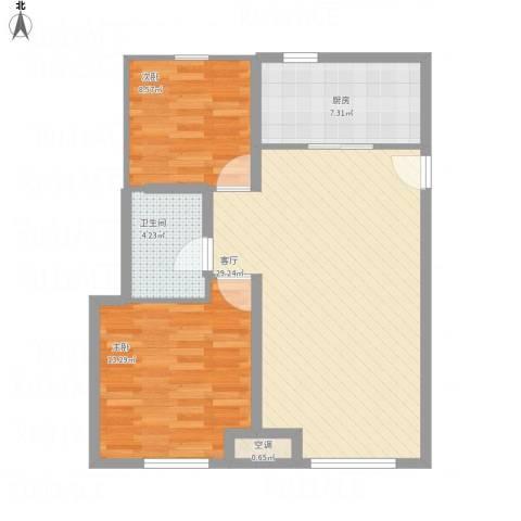 永定河孔雀城英国宫2室1厅1卫1厨89.00㎡户型图