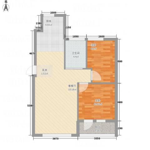 鑫城蓝湾2室1厅1卫0厨59.68㎡户型图