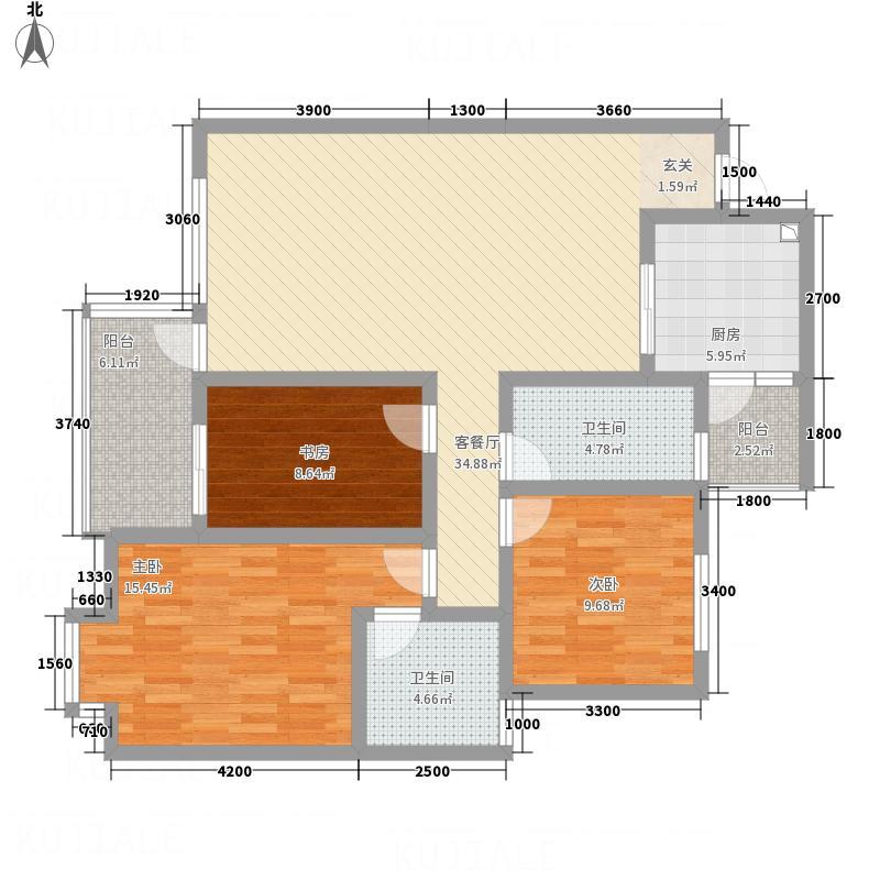 紫藤院E1户型3室2厅2卫