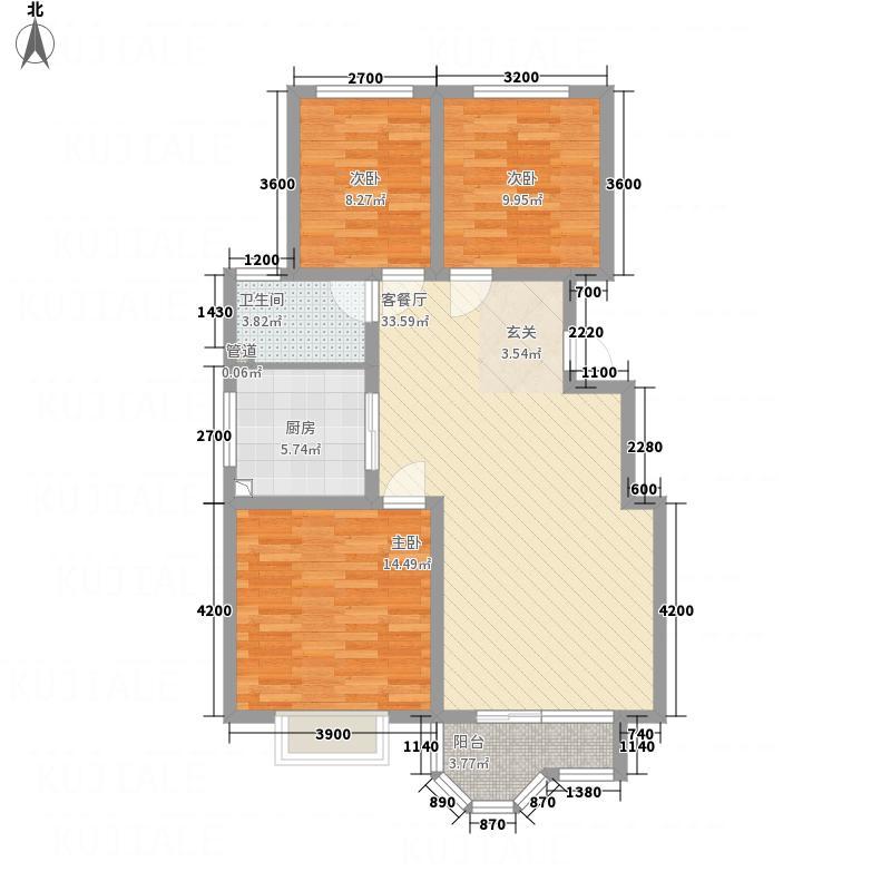 宇泰珑湾111.41㎡E1户型3室2厅1卫
