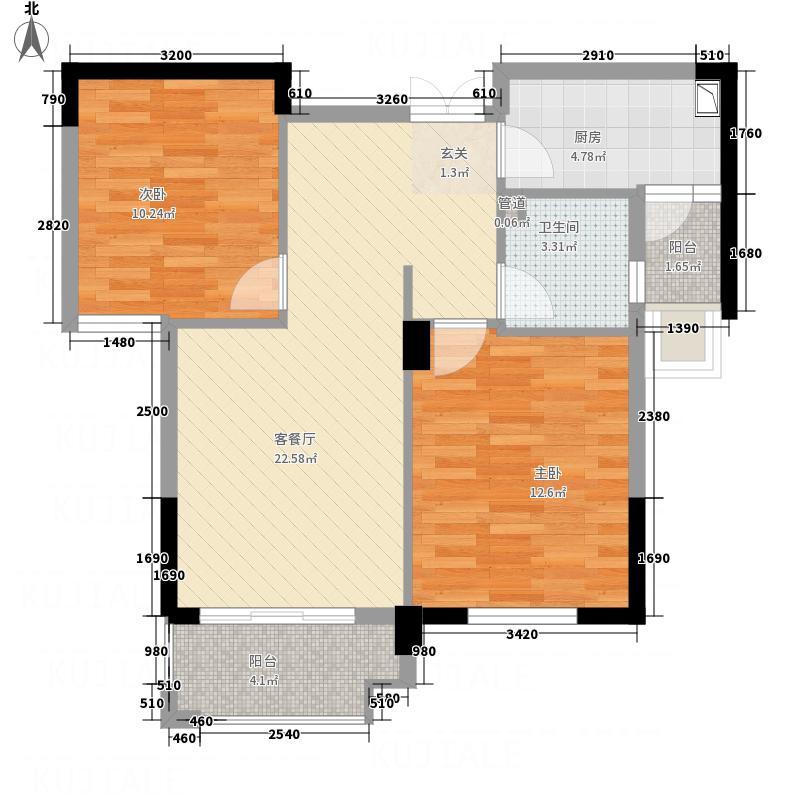 屯浦阳光84.78㎡C1户型2室2厅1卫1厨